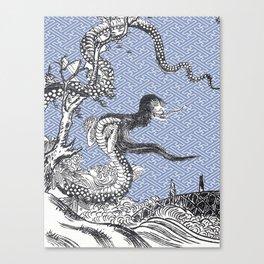 Yokai - NureOnna - SnakeLady by Sekien with Sayagata Background Canvas Print