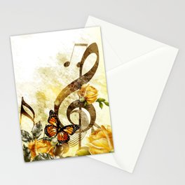 Butterfly Music Notes Stationery Cards