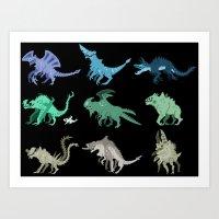 kaiju Art Prints featuring Kaiju by Glassraptor