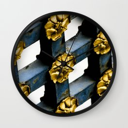 Gray Blue French Architecture with Parisian Gold Flowers Wall Clock