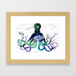 Watercolour Octopus on Marble Background Framed Art Print