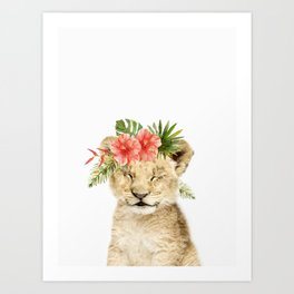 Baby Lion Cub with Flower Crown Art Print