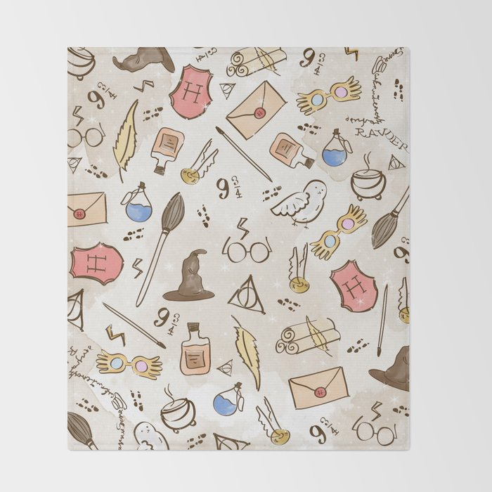 Wizarding Pattern Throw Blanket