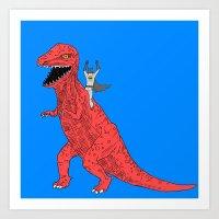 dinosaur Art Prints featuring Dinosaur B Forever by Isaboa
