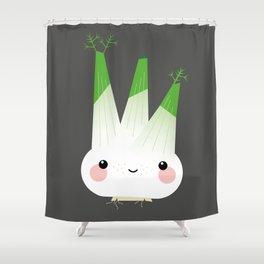 Fine Fennel – Funny Kawaii Food Illustration Shower Curtain