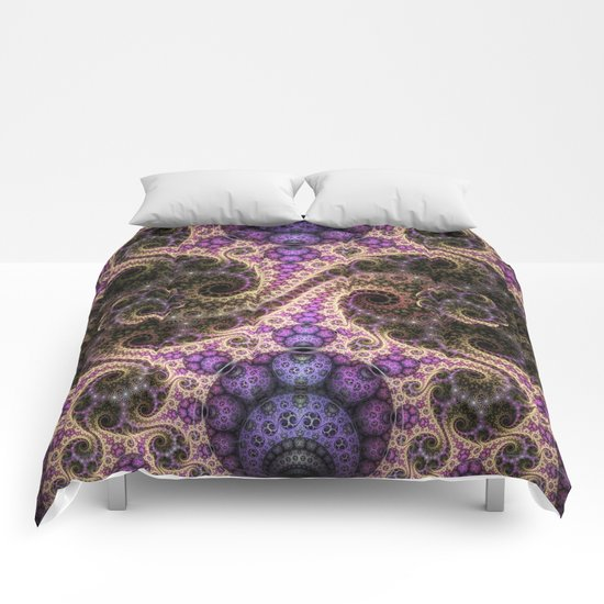 swirls, orbs and little flowers Comforters