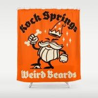 weird Shower Curtains featuring Weird Beards by Gimetzco's Damaged Goods