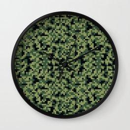 8bit camoflauge pattern Wall Clock