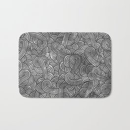 Grey and black swirls doodles Bath Mat