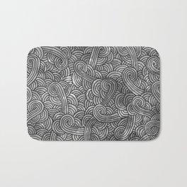 Grey and black swirls doodles Bath Mat