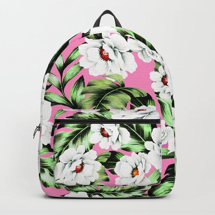 White Spring Flowers Backpack