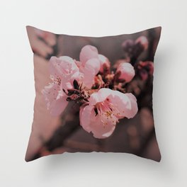 Pretty Pink Cherry Blossom Throw Pillow