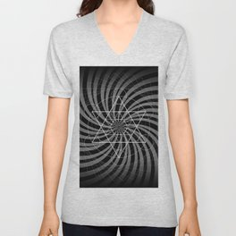 Metatron's Cube Grayscale Spiral of Light Unisex V-Neck