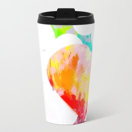 heart shape pattern with red pink blue yellow orange painting abstract background Travel Mug