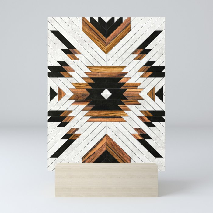Urban Tribal Pattern No.5 - Aztec - Concrete and Wood Mini Art Print