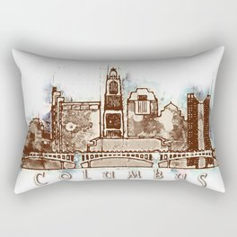 Columbus City, Ohio Skyline Graphic Rectangular Pillow