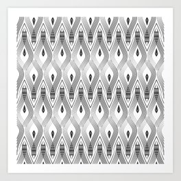 Art Deco 56 . black and gray spiral . Art Print