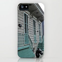 NOLA home pale grey clapboard historical building with light teal detailing iPhone Case