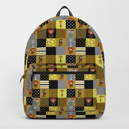 Jungle Friends Mustard & Black Cheater Quilt Hand-Painted Jungle Animals Backpack