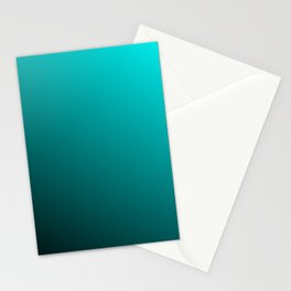Gradient Aqua and Black Stationery Cards