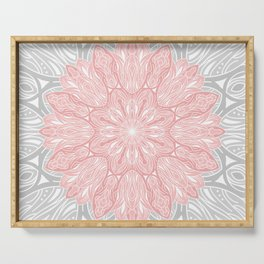 MANDALA IN GREY AND PINK Serving Tray