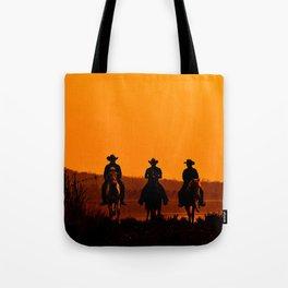 Wild West sunset - Cowboy Men horse riding at sunset Vintage west vintage illustration Tote Bag