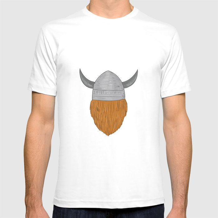 Viking Warrior Head Rear View Drawing T-shirt by ...