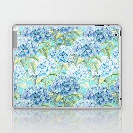 Blue floral hydrangea flower flowers Vintage watercolor pattern Laptop & iPad Skin