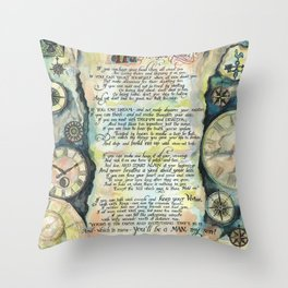 "Calligraphy of the poem ""IF"" by Rudyard Kipling Throw Pillow"