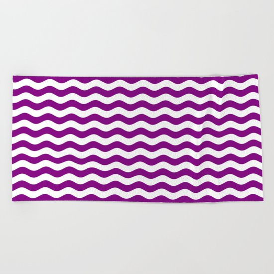 Wavy Stripes (Purple/White) Beach Towel