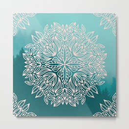 Mandala Forest Dawn Metal Print
