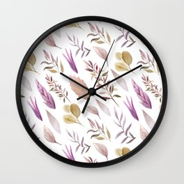 Pink lavender brown watercolor hand painted autumn leaves Wall Clock
