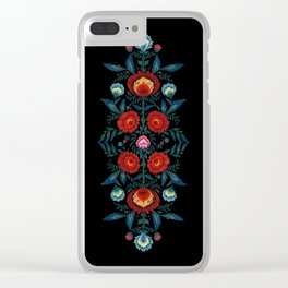 Flowers in Red and Blue Clear iPhone Case