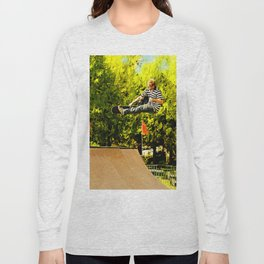 Flying High on Skateboard Ramp at the Park Long Sleeve T-shirt