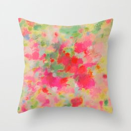 Bright Colorful Floral Abstract in Pink, Green -01 Throw Pillow