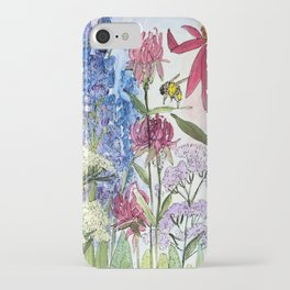 Watercolor Acrylic Cottage Garden Flowers iPhone Case