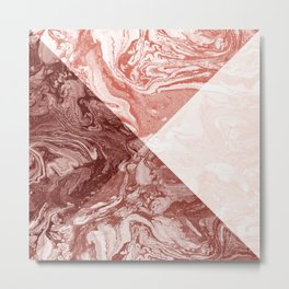 Geometric Shapes Coral Blush Marble Ombre Terra Cotta Metal Print