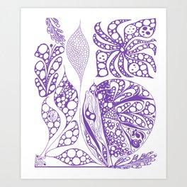 purple doodle Art Print