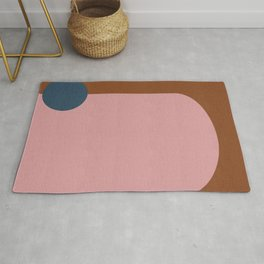 Modern Shapes in Blush, Navy, and Cinnamon Rug