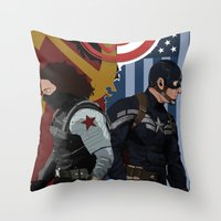 the winter soldier Throw Pillows featuring Winter Soldier by Evan Tapper