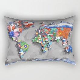 world map with flags Rectangular Pillow