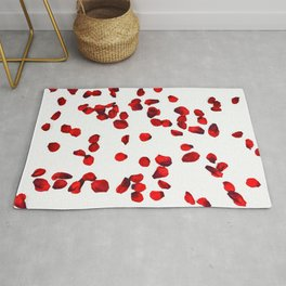 Red rose petals watercolor painting Rug