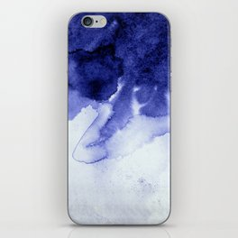 Inky Spill Deep Blue Ink on Washed White iPhone Skin