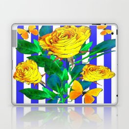 YELLOW SPRING ROSES & BUTTERFLIES WITH LILAC STRIPES Laptop & iPad Skin