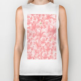 Hand painted coral white faux gold watercolor floral Biker Tank