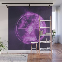 Radiation sign, Radiation symbol. Abstract night sky background Wall Mural