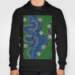 Authentic Aboriginal Art - The River (green) Hoody
