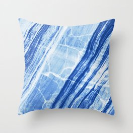 Abstract Marble - Denim Blue Throw Pillow