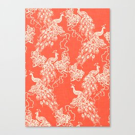 PEACOCK - coral Canvas Print