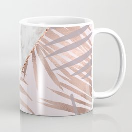 Rose gold marble & tropical ferns Coffee Mug